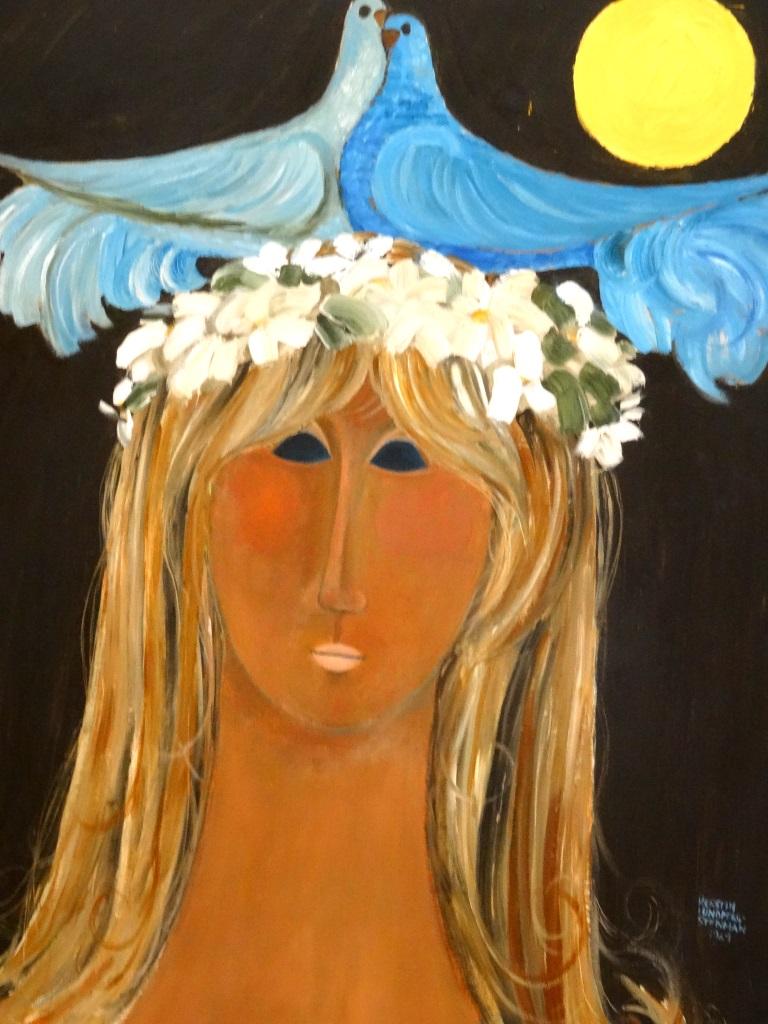 Maria bei Vollmond mit Turteltauben